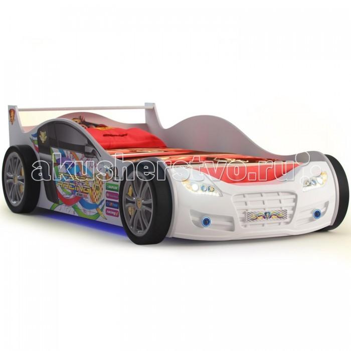 Детская кроватка Grifon Style Машина RX 800 без подсветкиМашина RX 800 без подсветкиКровать-машина Grifon Style RX 800 без подсветки от российского производителя детских товаров и мебели создана специально для маленьких любителей автомобилей. Она предназначена как для мальчиков, так и для девочек. Эта современная кровать с дизайном в стиле Формулы 1 сразу станет любимым местом для сна и времяпрепровождения в период бодрствования ребенка от трех лет и старше.  Кровать-кроссовер Грифон Стайл RХ 800 представляет собой сложную конструкцию, испытанную и доведенную производителем до совершенства с точки зрения комфорта, функционала и внешнего вида. Детская кровать-кроссовер с подсветкой Grifon Style RХ 800 лишена острых углов, что лишает ребенка риска пораниться. Ортопедическое дно способствует правильному формированию осанки ребенка.  Основные характеристики: подходит для мальчиков и девочек в возрасте от 3 до 15 лет одноуровневое дно кроватки наличие ортопедической сетки, обеспечивающей комфортный сон, а также заботящейся о правильном физическом формировании ребенка (допустимая высота ортопедической сетки 19-21 см)  Материалы и безопасность: изделие изготовлено из экологически чистых, гипоаллергенных, сертифицированных материалов основной материал кровати: ламинированный ДСП, в качестве покрытия французская пленка  Общие размеры и вес: внешние размеры кровати (д х ш х в): 207 х 110 х 64 см размеры спального места (д х ш): 190 х 90 см допустимая высота матраса: 19 – 22 см вес 80 кг<br>