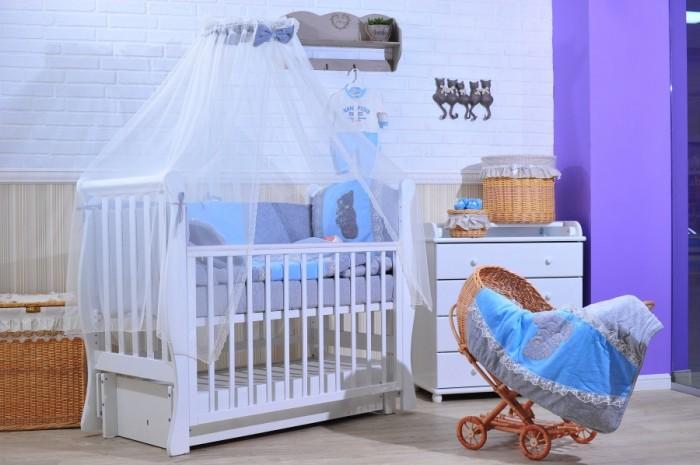 Комплект в кроватку GulSara 46 (6 предметов)46 (6 предметов)Комплект постельного белья 46 (6 предметов) включает все необходимые элементы для детской кроватки.  Кроватка Вашего малыша будет неотразимой и очень уютной. Ведь в комплект входит все необходимое для крепкого и безопасного сна малыша.  Комплект сшит из 100% натуральных материалов с соблюдением высоких стандартов качества.   Характеристики:  Материал: велюр, трикотаж, вуаль. Отделка: вышивка, кружево. Наполнитель: холофабер (борта), синтепон (подушка, одеяло).  Комплектность: комплект раздельных бортов 360х40х55 см подушка 40х60 см одеяло велюровое 110х140 см балдахин 400х160 см простынь велюровая на резинке 100x140 см наволочка 40x60 см<br>