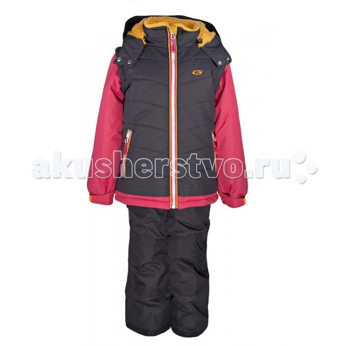 Gusti Boutique Комплект одежды GWG 3011Boutique Комплект одежды GWG 3011Зимний костюм Gusti состоит из куртки и полукомбинезона. В нем ребенку тепло и удобно независимо от того, какая температура на улице. Такая верхняя одежда – идеальный вариант для суровой зимы с сильными морозами.  Куртка:  Ткань верха shuss 5000мм  Наполнитель тек-полифилл плотностью 283 гр/м (10 унций)  Подклад флис на груди и спинке  Снегозащитная юбка  Трикотажные манжеты в рукавах, 2 внутренних кармана  Молнии и фурнитура YKK  Светоотражающие элементы 3М Scotchlite  Капюшон отстегивается  Брюки:  Ткань верха taslan 5000мм + Cordura Oxford сзади, на коленях, и по низу брючин  Наполнитель тек-полифилл плотностью 170 гр/м (6 унций)  Регулируемые лямки полукомбинезона. Высокая грудка до размера 6х/120см; в размерах 7-14 лет отстегивающаяся спинка, грудки нет  Снегозащитные гетры. Регулируемая длина (отворот с креплением на липе)  Молнии и фурнитура YKK  Светоотражающие элементы 3М Scotchlite<br>