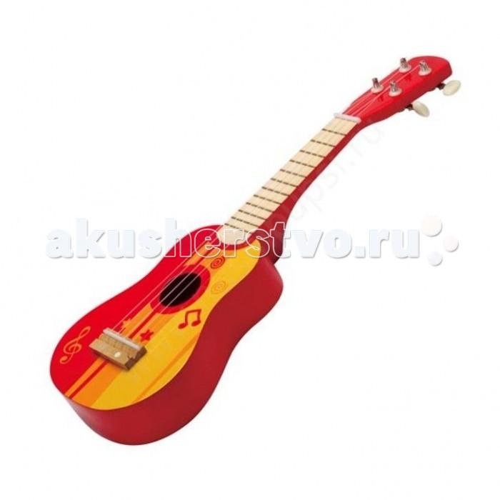 Музыкальная игрушка Hape ГитараГитараПервый музыкальный инструмент малыша - 4-х струнная гитара. Совсем как настоящая! Перебирая струны, малыш не только знакомится с миром музыки, но и тренирует ловкость пальчиков и мелкую моторику.   Размер товара: 57х23х33,5 см.<br>