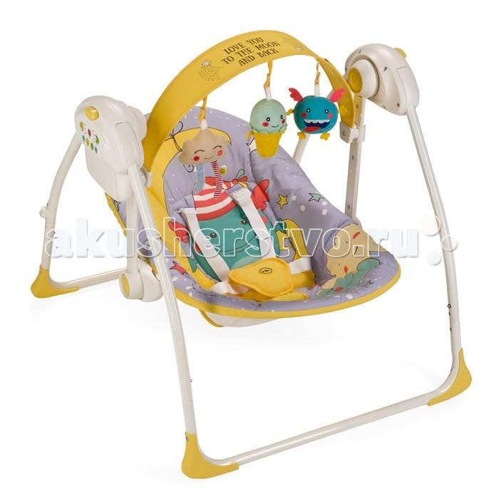 Электронные качели Happy Baby JollyJollyЭлектронные качели Happy Baby Jolly  Вашему вниманию представляются кресло-качели Jolly из коллекции MONSTER.   Качели, напоминающие малышу среду, в которой он находился до рождения, помогут ему быстрее адаптироваться к внешнему миру, а также станут отличным помощником матери в уходе за ребенком.   В качельках Jolly малышу будет уютно, тепло, безопасно и весело. Таймер на 10, 20 и 30 минут даст матери время для решения насущных бытовых вопросов. Три скорости укачивания позволят подобрать оптимальный вариант в зависимости от того, спит малыш или бодрствует. Восемь мелодий с возможностью регулировки громкости и съемная регулируемая дуга с игрушками не дадут ребенку скучать.   Работают качели от батареек (тип С, 4 штуки) или от сети через адаптер.  Возраст: от 0 месяцев Максимальный вес ребенка: 9 кг Вес качелей: 4 кг Ширина сиденья: 21 см Глубина сиденья: 32 см Длина спального места: 78 см  Характеристики:  Габариты в разложенном виде ДхШхВ: 68х64х57см Габариты в сложенном виде ДхШхВ: 26х64х63см 5-точечные ремни безопасности Наклон кресла: 2 положения Съемная дуга со съемными игрушками Дуга регулируется по высоте и наклону 3 скорости качания 8 мелодий с возможностью регулирования громкости Установка таймера со светодиодной подсветкой на 10, 20 и 30 минут Возможность работы от батареек (требуется 4 батарейки типа С) и от адаптера Легко складываются  Состав: Каркас: пластик, металл Тканые материалы: 100% полиэстер  Инструкция по уходу:  Каркас: периодически очищайте пластиковые части влажной тканью. Не пользуйтесь растворителями и схожими веществами.  Тканые материалы: протирайте влажной губкой с мыльным раствором, не пользуйтесь моющими средствами. Не выкручивайте, не отбеливайте, не сушите в стиральной машине, не гладьте.<br>
