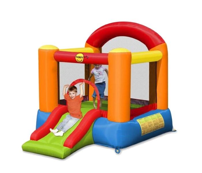 Happy Hop Надувной батут с горкой Веселый досуг/Забава 9004/9004BНадувной батут с горкой Веселый досуг/Забава 9004/9004BНадувной батут Happy Hop Веселый досуг/Забава 9004/9004B - игровая модель для детей любого возраста. Установить можно как на детской площадке общего пользования, так и на собственном дачном участке.   Технические характеристики:  Габариты модели: 265 x 200 x 200 см Высота основания: 40 см Размеры батута: 189 x 180 см Размеры прыжковой поверхности: 149 x 140 см Высота защитной сетки-ограждения: 87 см Размер горки: 85 x 82 см Высота площадки горки: 40 см  Ширина скользящей поверхности: 55 см  Допустимая нагрузка: 68 кг  Допустимое количество детей: 2.  Изделие выдерживает широкий диапазон температур: от –10 до +40 °C   Материал надувного батута  Прыжковая поверхность: ПВХ ламинированный (laminated PVC) Поверхность батута: ламинированная ткань Оксфорд  Застежки: лавсан  Крепеж к земле: пластмасса.  Насос батута высокого качества, безопасен при использовании и безвреден для окружающей среды.  Насос можно использовать при температуре от -15 до + 40 °C.  Оснащен устройством защиты.   При возникновении в насосе короткого замыкания или при прочих возникших проблемах при его эксплуатации, он немедленно выключается, тем самым обеспечивает безопасность пользователю надувного батута. Насос отвечает экологическим стандартам ЕС, а также имеет сертификат безопасности GS.  Комплектация: Батут Воздухонагнетатель (компрессор) Сумка для хранения батута Пластиковые колышки для фиксации батута Пластиковые колышки для фиксации воздухонагнетателя  Ремкомплект (по два кусочка ткани каждого цвета) Инструкция на русском языке.<br>