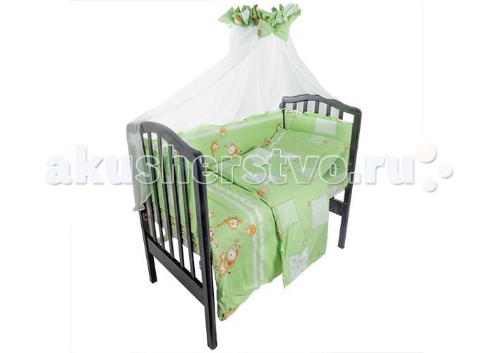 Комплект в кроватку Idea Kids Друзья (7 предметов)Друзья (7 предметов)Комплект в кроватку Idea Kids Друзья (7 предметов) великолепный комплект придется по нраву любому малышу. Он украсит кроватку и придаст дополнительный уют детской комнате.   В состав комплекта входит: наволочка 60 х 40 простынь на резинке для кроватки 120 х 60 пододеяльник 110 х 140 бортики 4 части, чехлы съемные, наполнитель холлкон одеяло, наполнитель холлофайбер подушка 60 х 40, наполнитель холлофайбер балдахин 400 х 150<br>