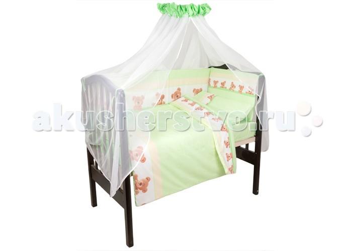 Комплект в кроватку Idea Kids Мишки (7 предметов)Мишки (7 предметов)Комплект в кроватку Idea Kids Мишки (7 предметов) безупречного качества подарит вашему ребенку дополнительный комфорт во время сна, поднимет ему настроение и окунет в мир фантазий.   В состав комплекта входит: наволочка 60 х 40 простынь на резинке для кроватки 120 х 60 пододеяльник 100 х 140 бортики 4 части, чехлы съемные, наполнитель холлкон, высота 40 см одеяло 140 x 97 подушка 60 х 40, наполнитель холлофайбер балдахин 400 х 150<br>
