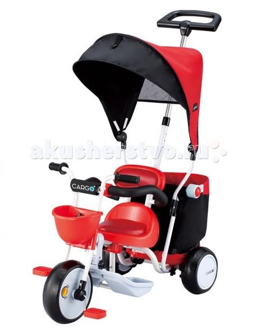 Велосипед трехколесный Ides Cargo PlusCargo PlusДетский трехколесный велосипед Cargo Plus предназначен для ребенка от 1 года до 3 лет.  Особенности:  Козырек от солнца - съемный. Ручка родительная - поворотная , управляемая передним колесом, имеет люфт 40-45 градусов Широкое сиденье, с ортопедической специальной спинкой, которая имеет широкую точку опоры для правильной осанки ребенка Сиденье и спинка имеют мягкие вставки –подушки, что обеспечивает дополнительный комфорт Защитный бампер с защелкой по середине, при необходимости съемный. Специальная подставка для ног Подножка съемная. Блокировка педалей на переднем колесе. Колеса изготовлены из специального материала, на основе термопластичного каучука, такое колесо не сдувается, имеет плавный и бесшумный ход. Задний ножной тормоз Передняя небольшая корзина для игрушек Задняя складная корзина для багажа. Допустимый вес груза до 8 кг. Ткань корзины , моющая - съемная. Рекомендуется стирка при температуре 30 градусов.  Общие размеры:  в разложенном виде (шхдхв):45х82х92см Вес велосипеда 7. 3 кг.<br>