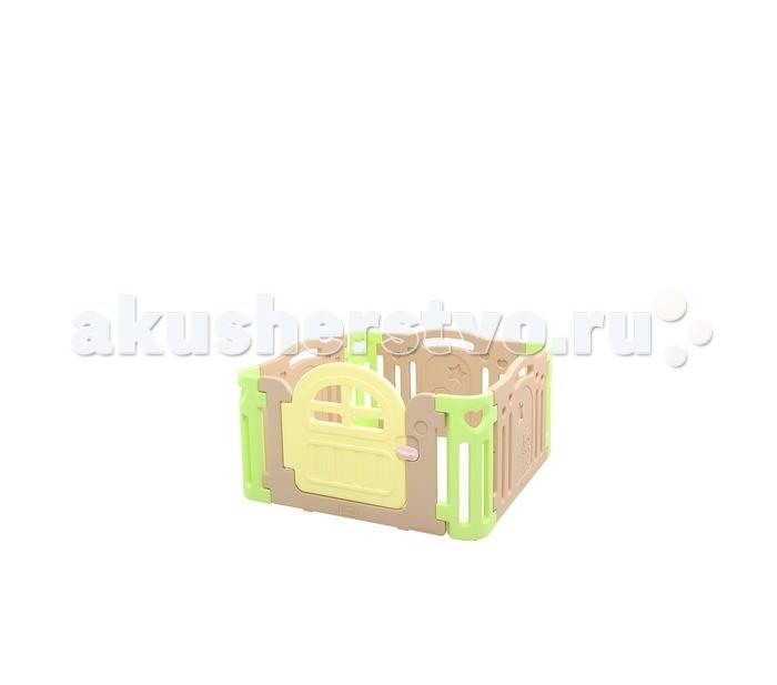 Ifam Ограждение MarshmallowОграждение MarshmallowIfam ограждение Marshmallow изготовлен из специального гипоаллергенного пластика, приятного оттенка с контрастными вставками. Этот материал не впитывает влагу и хорошо очищается моющими средствами. Для удобства родителей, манеж имеет небольшую дверцу с внешним запорным элементом.   Преимуществами модели являются компактность и безопасность для ребёнка. В разобранном виде манеж занимает пространство 1,25 х 1,25 м, что удобно при маленьком размере комнаты. Сложенный манеж имеет габарит 93,5 x 31 x 74,5 см и вес 12,5 кг, что практически вдвое меньше, чем у китайских аналогов.<br>