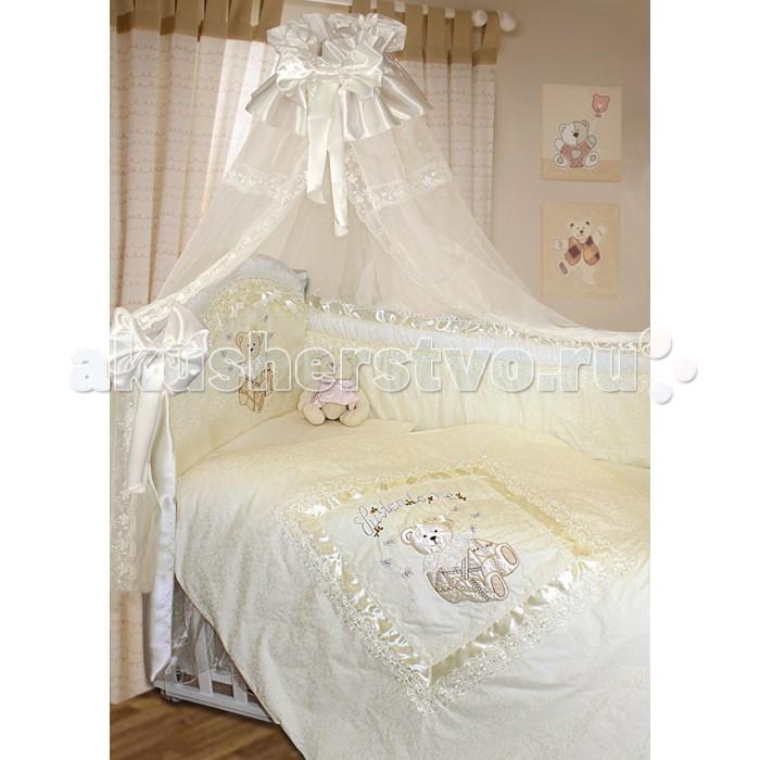 Комплект в кроватку Золотой Гусь Рафаэлло 140х70 (10 предметов)Рафаэлло 140х70 (10 предметов)Очень красивый и нежный комплект в кроватку, состоящий из 10 предметов. Размеры: 140x70   кружевной балдахин (560 х 170см),  подматрасник (юбка) (140 х 70 см),  бортик раздельный на кроватку (420 х 40см),  одеяло 108х140,   подушка 40х60,   простынка на резинке 100х150,   наволочка 40х60,   пододеяльник на молнии 110х145,  банты 2 шт.<br>