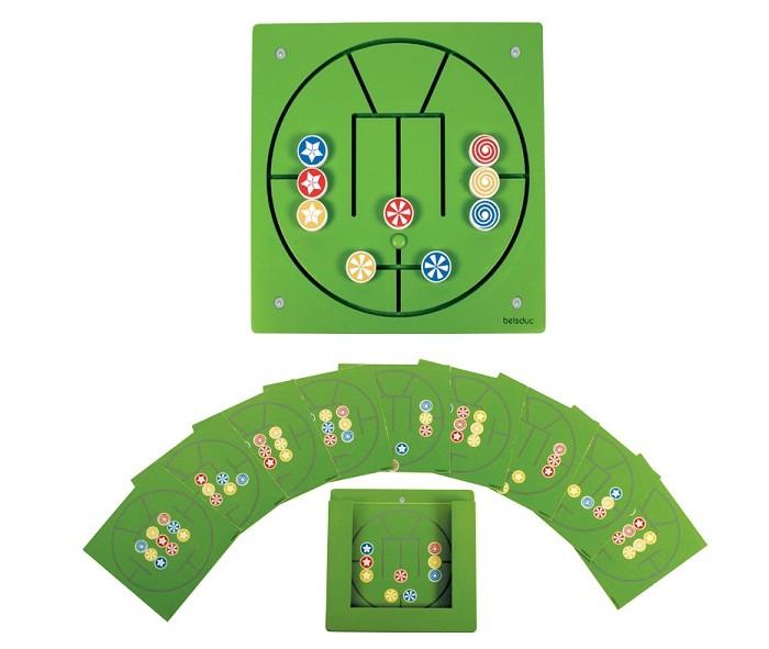 Деревянная игрушка Beleduc Настенный игровой элемент Три в рядНастенный игровой элемент Три в рядBeleduc Настенный игровой элемент Три в ряд для детей старше 3-х лет.   Особенности: В ходе игры ребенок учится распознавать цвета, развивает ловкость и координацию.  Детям предлагается создать различные комбинации из 9 дисков, передвигая их по лабиринту.   В комплекте: 1 игровая доска,  10 карточек с заданиями,  1 подставка для карточек.<br>