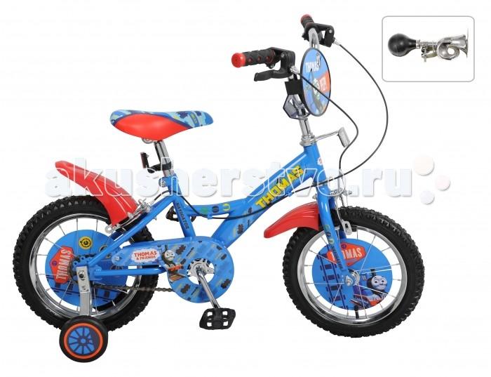 Велосипед двухколесный Navigator Томас и его друзья 14 KiteТомас и его друзья 14 KiteВелосипед Navigator Томас и его друзья 14 Kite - это хорошо собранный и надёжный велосипед для ребёнка. Модель подойдет для ребенка ростом 100-120 см. Детский велосипед с ярким дизайном и популярной лицензией Томас и его друзья.  Велосипед оснащен гудком и ручными тормозами. Катание на велосипеде благоприятно влияет на здоровье, укрепляет мышцы, развивает зрение, учит ориентироваться в пространстве и принимать решения.   Особенности: Тип: детский Материал рамы: сталь Амортизация: отсутствует Конструкция вилки: жесткая Конструкция рулевой колонки: неинтегрированная, резьбовая Диаметр колес: 14 дюймов Материал обода: алюминиевый сплав Двойной обод: нет Шатун: односоставной Возможность крепления боковых колес: есть Боковые колеса в комплекте: есть Тип переднего тормоза: ручной Тип заднего тормоза: ручной Уровень заднего тормоза: начальный Количество скоростей: 1 Уровень каретки: начальный Конструкция каретки: неинтегрированная Тип посадочной части вала каретки: квадрат Количество звезд в кассете: 1 Количество звезд системы: 1 Конструкция педалей: платформы Конструкция руля: изогнутый Настройка положения руля: регулируемый подъем Материал рамки седла: сталь Комфорт: защита цепи, щиток на руле<br>