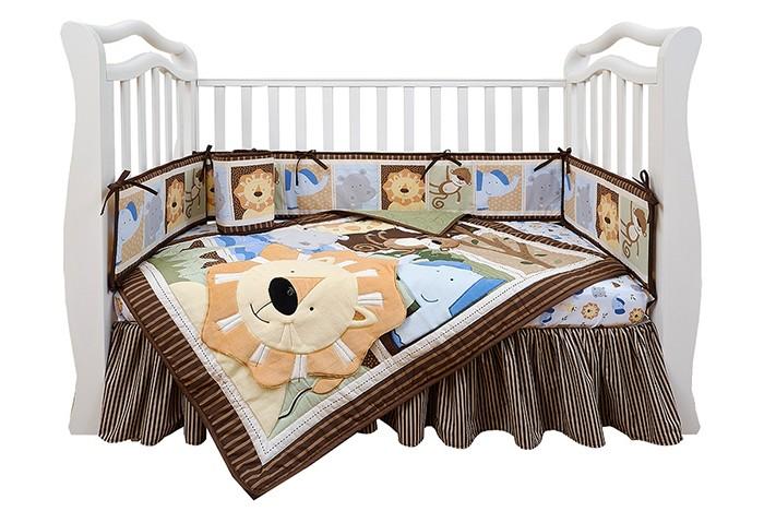 Комплект в кроватку Giovanni Shapito Leo Jungle 120х60Shapito Leo Jungle 120х60Комплект для кроватки Giovanni Shapito Leo Jungle 120х60 (7 предметов). Стильный дизайн, практичные и безопасные материалы, сочетание ярких красок и забавных персонажей станут великолепным украшением для детской комнаты.   Основные характеристики: одеяло-покрывало декорировано вышивкой и тканевыми аппликациями бампер состоит из 4-х частей, что позволяет использовать его как по всему периметру кроватки в варианте для младенца, так и в варианте диванчика для подросшего малыша, чехлы не съемные простыня на резинке надежно закрепляется на матрасе и не позволяет складкам воздействовать на кожу ребенка юбка придает изысканный внешний вид детской кроватке. Материал: поликоттон (Хлопок 65% / Поливолокно 35%)— смесовая практичная ткань нового поколения, специально предназначенная для производства постельного белья, одеял, подушек и матрасов. По сравнению с тканями, произведенными только из хлопчатобумажных волокон, поликоттон имеет следующие преимущества: -долговечность структуры ткани и устойчивость рисунка -хорошие гигиенические свойства -приятный на ощупь -малая усадка -низкая сминаемость. Размер:  простыня натяжная на резинке 120 х 60 см бампер 120 х 25 см - 2 штуки бампер 60 х 25 см - 2 штуки одеяло - покрывало с аппликацией 107 х 84 см юбка декоративная по периметру, высота 23 см.<br>