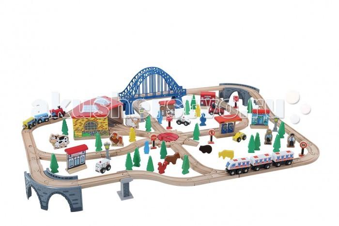 Balbi Железная дорога WT-074 (120 деталей)Железная дорога WT-074 (120 деталей)Balbi Железная дорога WT-074 (120 деталей). Модель WT-074 представляет собой сеть железных дорог сложнй формы, имеет в наличии депо, большой мост, полицейский участок и АЗС. И в центре всего расположен поворотный круг для поездов. Набор изготовлен из дерева твердых пород. Качественная обработка всех деталей набора и окраска натуральными красками обеспечивают безопасность для детей. Вагоны поезда легко соединяются с помощью магнита и без труда входят в любой поворот. А дополнительные детали, такие как деревья, звери и знаки - помогут ребенку создать целый маленький мир.   В разложенном виде дорога занимает площадь 107 х 89 см   В данном наборе 120 элементов: 2 паровоза, 4 вагона, 3 моста, АЗС, Депо, 3 городских здания, 4 машинки, 7 фигурок животных, 5 дорожных знаков, 7 фигурок людей и другие элементы.<br>