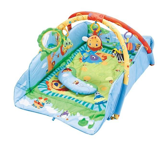 Развивающий коврик FunKids 3 Ways To Play 88353 Ways To Play 8835FunKids Развивающий игровой коврик для новорожденного 3 Ways To Play Gym 8835  На коврике ваш малыш откроет для себя мир, полный новых тактильных ощущений, сочных красок, ярких образов и звуков! Можно лежать на спине, ползать на животе, толкаться ногами, сидеть и развиваться в компании веселых друзей.  Две игровых дуги с мягкими съемными игрушками и безопасным зеркалом Для удобства малыша к коврику можно закрепить подушечку Бортики коврика можно поднять и закрепить для большего чувства безопасности  Размеры коврика 3 Ways To Play с закрепленными бортиками / в разложенном состоянии:  Длина - 75 см / 105 см Ширина - 55 см / 91 см Высота игровой дуги - 52 см<br>