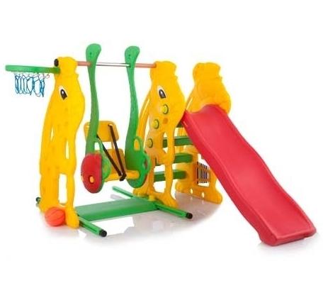 BabyOne Игровой комплекс Ching-Ching Заяц SL-08Игровой комплекс Ching-Ching Заяц SL-08- горка подходит для детей от 1 года (горки выдерживают нагрузку до 50 кг, качели - до 30 кг) - сделана из высокопрочного структурного пластика; - легка и удобна в сборке; - имеет интересный дизайн, который обязательно оценит ребенок; - станет прекрасным украшением сада, загородного участка или двора у дома;  - безопасна, так как рассчитана на маленьких детей с учетом особенностей возраста. - имеет удобные ступеньки, перила и закругленные бортики. - сама горка не высокая и очень устойчивая. - баскетбольное кольцо крепится в верхней части зайца - лесенка горки состоит из трёх ступеней  Комплектация горки: пластиковая горка, лесенка, кольцо баскетбольное, мяч, качели Размер горки: длина спуска 137 см, высота 111 см  Вес горки: 21,4 кг<br>