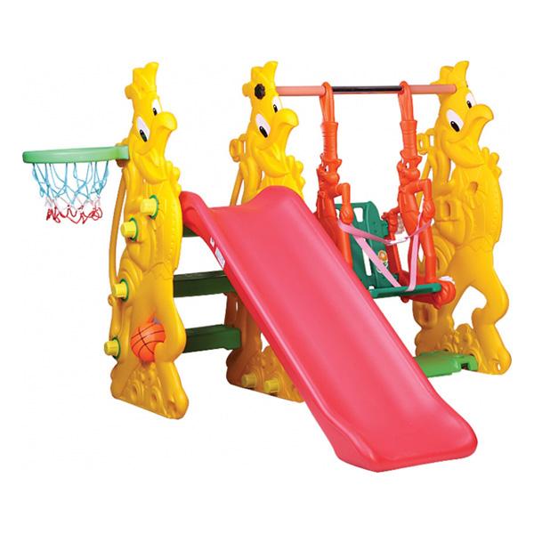BabyOne Игровой комплекс Ching-Ching Петушок SL-15Игровой комплекс Ching-Ching Петушок SL-15Горка детская Ching-Ching Петушок SL-15 — развивающая игровая площадка для активных игр малышей. Качели, горка и игры в баскетбол — с такими развлечениями нельзя заскучать. Данная модель отличается повышенной надежностью и устойчивостью. Выполненная из очень прочного пластика, горка детская Чинг-Чинг Петушок СЛ-15 никогда не перевернется вместе с ребенком. Ching-Ching Петушок SL-15 полностью безопасна, мегафункциональна и долговечна, поэтому принесет вашим детям много радости.  Особенности: -невысокая и очень устойчивая, Вы можете не бояться, что горка опрокинется с малышом; -в комплекте идет баскетбольное кольцо, в которое можно кидать мяч; -в комплекте также идут качели с надежными ремнями безопасности, чтобы даже самый маленький -ребенок не упал и не поранился; -у качелей безопасная амплитуда качания; -комплекс выполнен из высококачественного пластика; -маленькое расстояние между ступеньками горки, рассчитаное на шаг малыша.  Размеры: Высота: 1,60 м Высота ската горки: 1, 37 м. Вес комплекса 21 кг. Максимальная нагрузка: 80 кг<br>