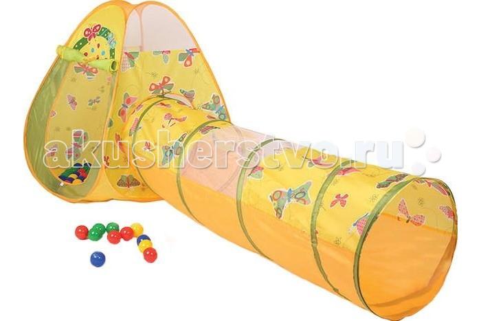 Bony Игровой домик с тоннелем Бабочки + 100 шариковИгровой домик с тоннелем Бабочки + 100 шариковКрасочные и интересные игровые домики для детей — это лучшее решение родителей, чтобы ребенок мог активно играть с пользой для здоровья!  Домики очень компактные, легкие и их легко брать с собой, например, на дачу или на природу.  В комплекте 100 разноцветных шариков, играя которыми, малыши развивают ловкость и моторику рук.   Палатка имеет окошки из сетки. Специальная дверка закрепляется на липучках. Достаточно высокий порог не позволит выкатываться шарикам.  Размеры: домик - 85&#215;85&#215;100 см, тоннель - 48х180 см.<br>
