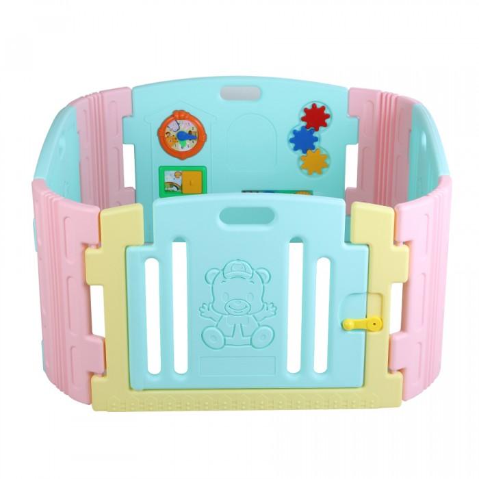 Edu-Play Ограждение-манеж с игровой панельюОграждение-манеж с игровой панельюОграждение-манеж с игровой панелью - неотъемлемая часть детской комнаты. Можно использовать с ясельного возраста. Ребенок находится в безопасности, даже если вы его не видите. И к возрасту 3 лет манеж послужит игровой зоной вашему ребенку.  В комплект входит: игровая панель панели - 6 шт дверная панель с нарисованным Мишкой - 1 шт дверная рама - 1 шт дверной замок - 1 набор набор наклеек для украшения  Размер: 116х116х60 см<br>