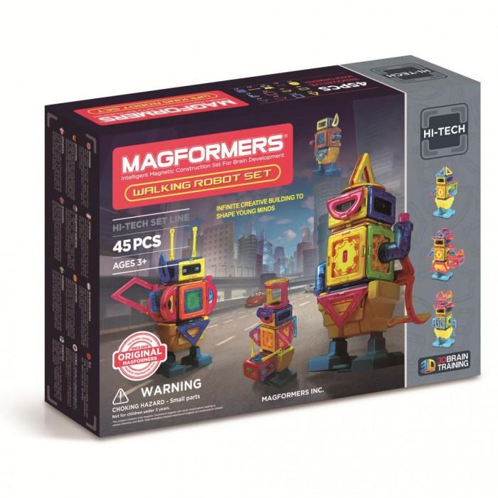 Конструктор Magformers Walking Robot 63137Walking Robot 63137Магнитный конструктор Magformers Walking Robot 63137  Особенность набора Magformers Walking Robot в том, что кроме стандартных деталей в него входят новые аксессуары — двигатель, пульт включения и блок для передвижения.  Из 45 ярких деталей магнитного конструктора от Magformers можно собрать потрясающих воображение роботов. Для сборки не понадобятся инструменты, так как детали соединяются посредством магнитного притяжения. Из красочных элементов можно собрать несколько видов роботов, причем это будут шагающие дроиды! Соединив детали нужным образом и внедрив в робота двигатель и блок для передвижения, а затем воспользовавшись пультом управления, ребенок с восторгом будет наблюдать за тем, как уверенно вышагивает его творение.<br>