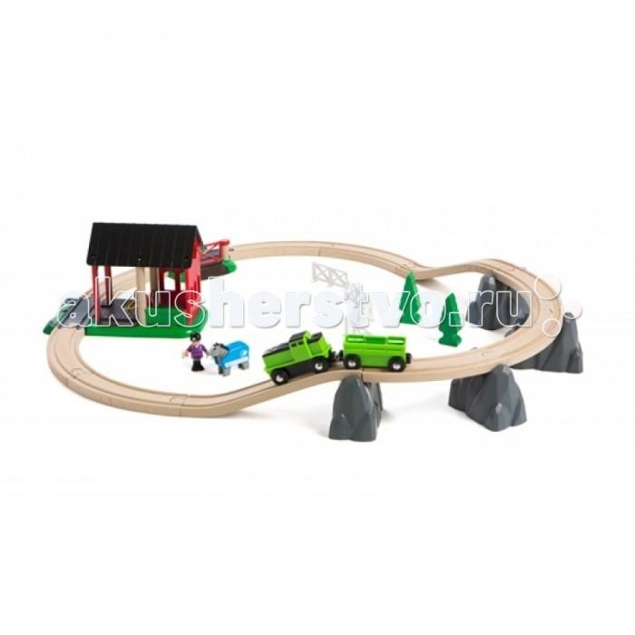 Brio Набор железной дороги Кантри, 28 элементовНабор железной дороги Кантри, 28 элементовНабор железной дороги Кантри, 28 элементов.  Если лошадка пасется далеко от дома, то можно воспользоваться специально оборудованным поездом.   Поезд способен преодолевать даже скалы.  Поезд работает от батарейки типа АА (в комплект не входит).  В набор входят: фигурки человечка и лошади, попона, поезд с вагоном, железнодорожное полотно с переездом, скалы, сарай для лошади, изгородь, деревья.<br>