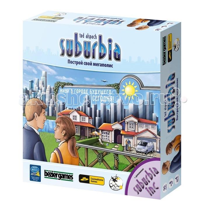 Cosmodrome Games SuburbiaSuburbiaCosmodrome Games Suburbia 52001   Настольная игра Suburbia (Субурбия) – игра про градостроительство. Игроки выступают в роли градоначальников и расширяют свой город, с целью привлечь больше жителей, которые и являются ключом к победе.  Как играть: каждый игрок в начале игры получает сумму денег, которой волен распоряжаться по своему усмотрению. На эти деньги он может покупать проекты по застройке, которые дешевеют с каждым ходом. Но чем дольше ждать, тем больше шансов – что привлекательную постройку уведут конкуренты. Кроме этого не все постройки одинаково полезны! Если вы построите парк рядом с промышленным районом – это пойдет вам в минус. Все как в жизни. В чем отличия: аналогов у игры нет. Прибыльность города, рост населения, разумное использование территорий – игра основательно погружает в непростые будни мера большого мегаполиса.   У Субурбии высокие рейтинги на профильных сайтах мира. Также игра является лауреатом американской премии Mensa Select, учрежденная людьми с самым высоким IQ планеты!<br>
