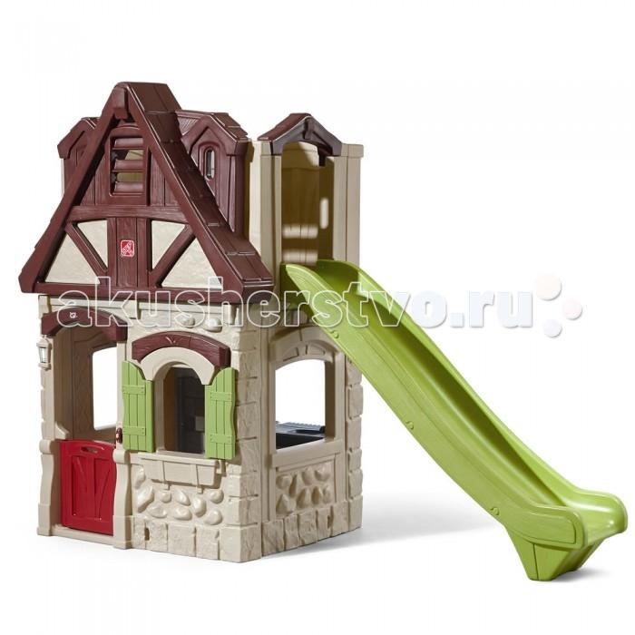 Step 2 Игровой домик с горкойИгровой домик с горкойИгровой домик Step 2 с горкой состоит из нескольких уровней, где дети могут играть со своими друзьями.   Особенности: Игровой домик двойного назначения и присоединенная к нему горка удваивают радость игры;  На нижнем этаже находится открывающаяся дверка, электронный звонок и кухонный уголок;  С помощью расположенной в домике лестницы дети могут подниматься на второй этаж;  Второй этаж напоминает крепость с бойницами и дает простор для детской фантазии; Особенно длинная горка (180 см) позволяет быстро покидать игровую крепость;  Для эксплуатации необходимы две батарейки ААА (не входят в комплект).<br>