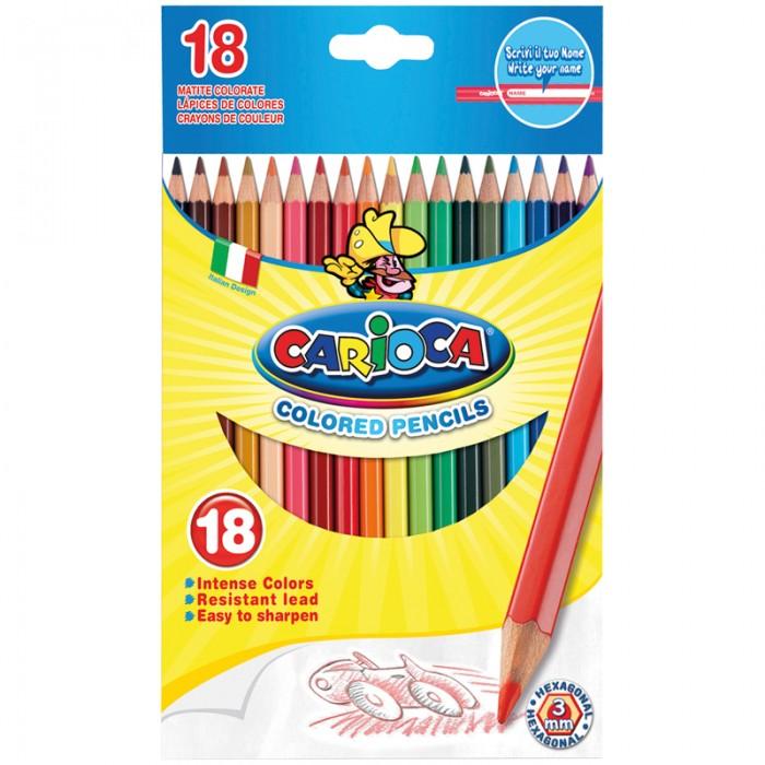 Карандаши, восковые мелки, пастель Carioca Карандаши 18 цветов карандаши цветные spider man 18 цветов в картонной упаковке