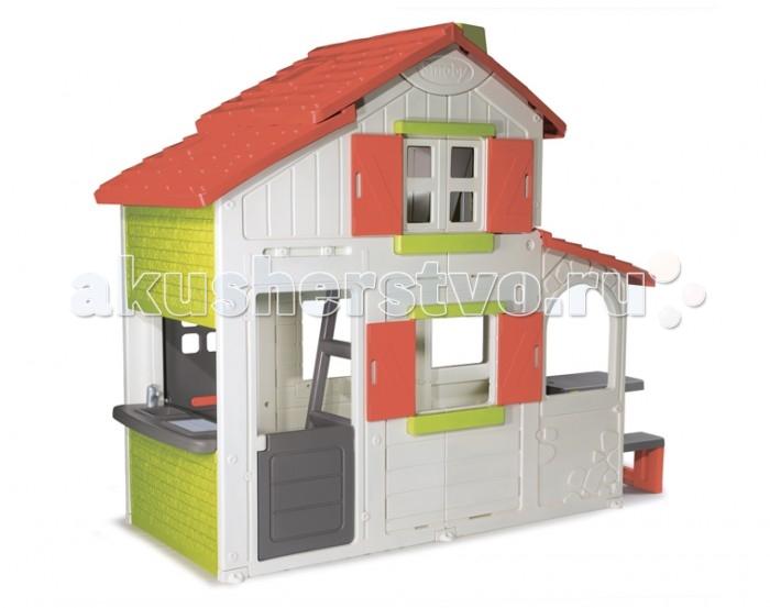 Smoby Игровой домик 2-х этажный коттедж для друзейИгровой домик 2-х этажный коттедж для друзейИгровой домик Smoby 2-х этажный коттедж для друзей изготовлен из сверхпрочного пластика, который не деформируется даже при сильном морозе и не выгорает на солнце.   Особенности: В домике все как у взрослых: спаленка на втором этаже, кухня с плитой, мойкой и барбекю. Маленькая хозяйка сможет не только заняться кулинарией, но и приглашать в гости друзей.  Площадь коттеджа вполне это позволяет, а электрический звонок придаст игре реалистичность. Детский игровой дом поможет вашему ребенку раскрыть творческий потенциал. Создавая уют в своем жилье, дети проявляют поистине гениальные дизайнерские способности!  Кружевные шторки, букеты и гирлянды цветов, картины и статуэтки, выполненные своими руками - вот далеко не полный список того, что делает коттедж не просто игрушкой, но и развивает индивидуальность. Но главное достоинство этого игрового комплекса, как и любого настоящего дома, это его безопасность. Высококачественный пластик не навредит ребенку, защитные решетки на окнах защитят его от падения.  Самое ценное, вернее, бесценное в нашей жизни – это улыбки и смех детей. Сочетая игру, творчество и навыки самостоятельной жизни детский коттедж доставит немало приятных моментов не только детям, но и их родителям.<br>