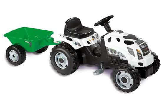 Smoby Педальная машина Трактор GM Thme VacheПедальная машина Трактор GM Thme VacheТрактор педальный Smoby GM Thme Vache с прицепом. Вы непременно оцените великолепное качество и дизайн игрушки. У трактора очень удобное сидение, и возможность регулировки расстояния от рулевого колеса по мере роста ребенка. Трактор очень устойчив на дороге и легок в управлении. Поставляется со съемным прицепом и открывающимся капотом.<br>