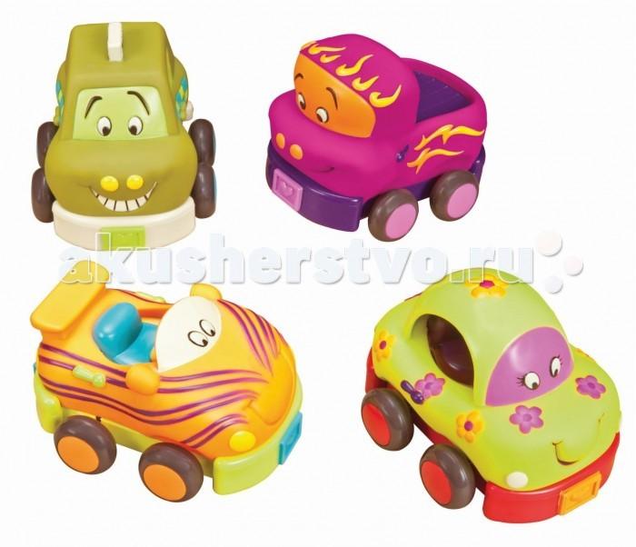 Battat Набор из 4 машинокНабор из 4 машинокBattat Набор из 4 машинок Четыре пухленькие машинки великолепно подойдут для увлеченных маленьких ручек.  Особенности: машинка гудит грузовик издает сигнал гоночный автомобиль мчится с грохотом такси весело повизгивает!<br>