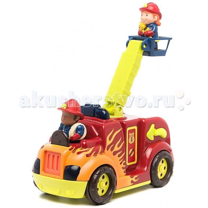 Battat Пожарная машина с подъемникомПожарная машина с подъемникомBattat Пожарная машина с подъемником отважные пожарники мчатся на городской пожар, они всегда готовы помочь тому, кто попал в беду, даже маленькому котенку, забравшемуся на высокое дерево.   Игрушечная пожарная машина мигает огоньками, мотор гудит, длинная лестница выдвигается. Пожарная машина заводится, если нажать на голову водителю.   В комплекте двое бравых пожарников, один – с кошкой на руках, ее-то и будем спасать. Лестница поднимается, шланг присутствует.<br>