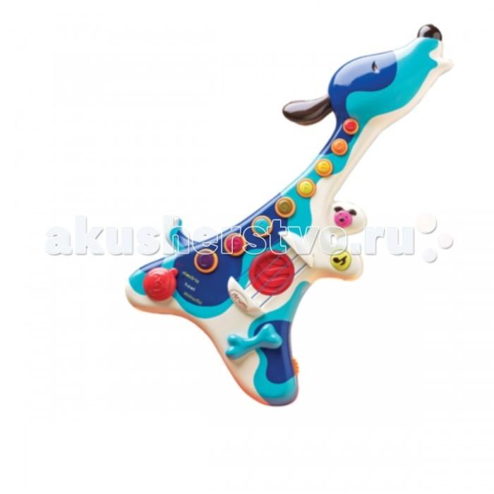 Музыкальная игрушка Battat Гитара 68642Гитара 68642Музыкальная игрушка Battat Гитара 68642 для маленьких музыкантов.   Особенности: 3 режима игры: акустическая, электрическая гитара или песни щенка. Выберите игру под свое настроение 20 известных песен. Подпевайте с удовольствием! 9 песен веселого щеночка (в набор входит буклет с текстами песен и музыкой 8 музыкальных кнопок играют мажорные и минорные аккорды на струнах можно играть аккордовую последовательность или предварительно записанные песни эффект тремоло позволит Вам придать индивидуальность любой песенке в набор входят 3 батарейки АА гитара выключается сама через 2 минуты.<br>