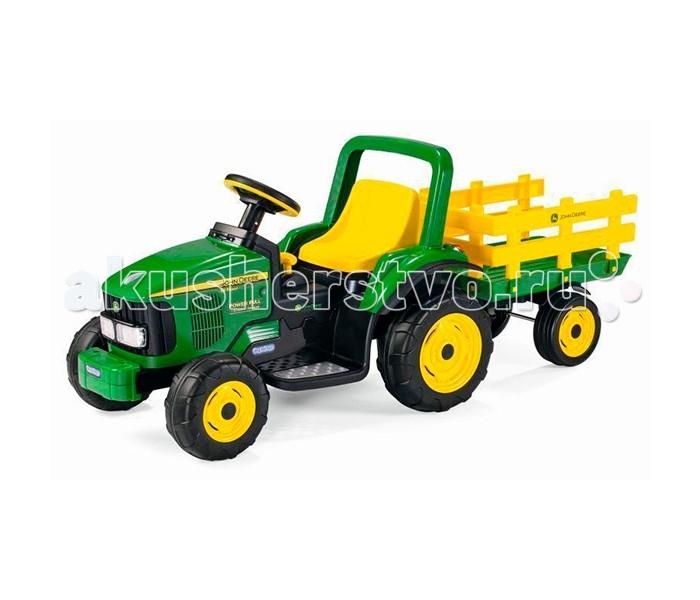 Электромобиль Peg-perego JD Power Pull TractorJD Power Pull TractorНастоящий трактор John Deere для малышей в возрасте от 2 лет и весом не более 25 килограмм от компании Peg Perego. Электромобиль позволяет передвигаться по любым поверхностям с уклоном менее 5%. Посадочное место ребёнка регулируется в нескольких положениях.  Электромобиль оснащён настоящим FM-радио, вторая скорость может быть заблокирована для безопасности вашего ребёнка.  Также Вы можете приобрести прицеп, чтобы ваш малыш мог самостоятельно перевозить свои игрушки или плюшевых друзей.  Технические характеристики: Возраст / Maкс. вес ребенка: 2 + / 25 кг Кол-во скоростей: 1+R Двигателей / ведущих колес: 1 (140 Вт)/2 Макс. скорость + R: 3.5 км/ч + 3.5 км/ч реверс Аккумулятор: 6В (4.5 A/ч) Время непрерывной работы при максимальной нагрузке: 40 минут Время зарядки аккумулятора: 12–14 часов<br>