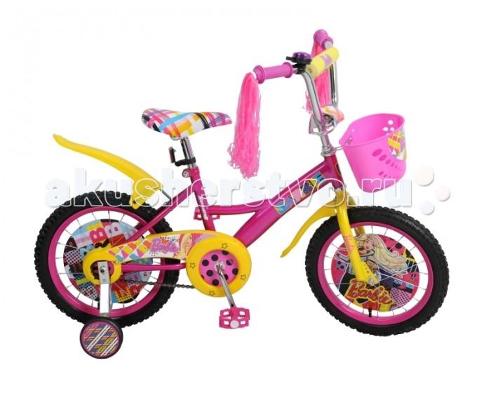 Велосипед двухколесный Navigator Barbie 16 KiteBarbie 16 KiteВелосипед Navigator Barbie 16 Kite - это хорошо собранный и надёжный велосипед для ребёнка. Модель подойдет для ребенка ростом 105-125 см. Детский велосипед с ярким дизайном и популярной лицензией Barbie.  Велосипед оснащен багажником, звонком, мишурой на руле и корзиной для перевозки необходимых мелочей. Катание на велосипеде благоприятно влияет на здоровье, укрепляет мышцы, развивает зрение, учит ориентироваться в пространстве и принимать решения.   Особенности: Тип: детский Материал рамы: сталь Амортизация: отсутствует Конструкция вилки: жесткая Конструкция рулевой колонки: неинтегрированная, резьбовая Диаметр колес: 16 дюймов Материал обода: алюминиевый сплав Двойной обод: нет Шатун: односоставной Возможность крепления боковых колес: есть Тип переднего тормоза: отсутствует Тип заднего тормоза: ножной Уровень заднего тормоза: начальный Количество скоростей: 1 Уровень каретки: начальный Конструкция каретки: неинтегрированная Тип посадочной части вала каретки: квадрат Количество звезд в кассете: 1 Количество звезд системы: 1 Конструкция педалей: платформы Конструкция руля: изогнутый Настройка положения руля: регулируемый подъем Материал рамки седла: сталь Комфорт: защита цепи, мягкая накладка на руле<br>