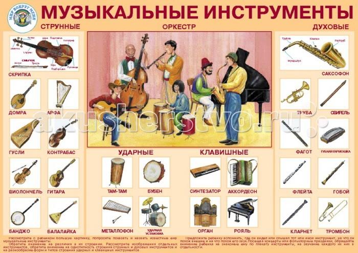 Обучающие плакаты Маленький гений Плакат Музыкальные инструменты  комплект плакатов музыкальные инструменты фгос до