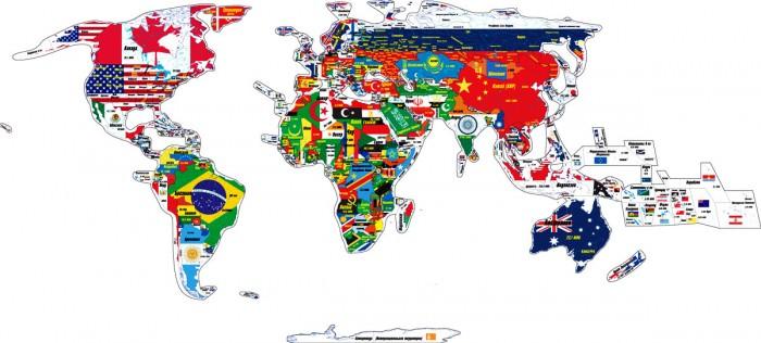 Геомагнит Магнитный пазл Мир 328 элементовМагнитный пазл Мир 328 элементовМагнитный географический пазл карта Мира - с элементами (набор из 7 пакетов, всего 328 элементов) в контурах государственных границ стран мира и субъектов/регионов РФ и США (представляет собой полный набор из всех семи комплектов пазлов отдельных частей света).  Страны и регионы географического пазла выполнены в единой картографической проекции и одинаковом масштабе, что позволяет собрать полную политическую карту современного мира.  Контурный магнитный географический пазл помогает изучить названия различных государств и столиц, их национальные флаги, запомнить размеры стран и форму границ, их взаимное расположение, и примерную актуальную численность населения государств.  Пазл можно собирать на ровной горизонтальной поверхности, а так же на ровных вертикальных металлических поверхностях, например на магнитно-маркерной доске или холодильнике.<br>