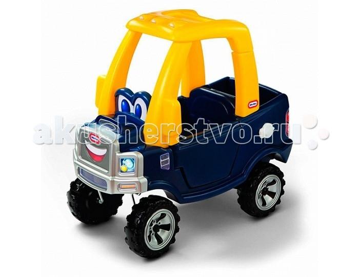 Каталка Little Tikes 620744620744Игрушка Каталка.  Эффектная темно-синяя машинка с желтой крышей, на передней панели изображена милая мордашка с большими добрыми глазами и озорной улыбкой. Прочные мощные колеса являются не только красивым элементом, но и дают возможность прокатиться по неровной поверхности. Дверь водителя легко открывается, малыш вполне справится с ней самостоятельно. Объемный багажник позволяет разместить в нем большое количество игрушек или аксессуаров, которые ваш малыш пожелает взять с собой на прогулку. Открывающаяся панель багажника дает дополнительное сходство с настоящей машиной-пикапом и, конечно, возможность удобно разместить все необходимое.  У автомобиля есть ручка, с помощью которой мама будет катать в ней малыша, а когда он немного подрастет, то сможет ездить самостоятельно. В днище автомобиля находится отверстие для ног (его надо открыть, сняв панель с пола), теперь в движение машинка будет приводиться именно при помощи ног, что благотворно влияет на физическое развитие малыша.  При изготовлении каталки применяется метод центробежного литья, что позволяет сделать ее ударопрочной и устойчивой к перепадам температур. Выдерживает температуру до -18 С. Предназначена для детей от 18 мес. до 5-ти лет. Максимальный вес ребенка – 23 кг.<br>