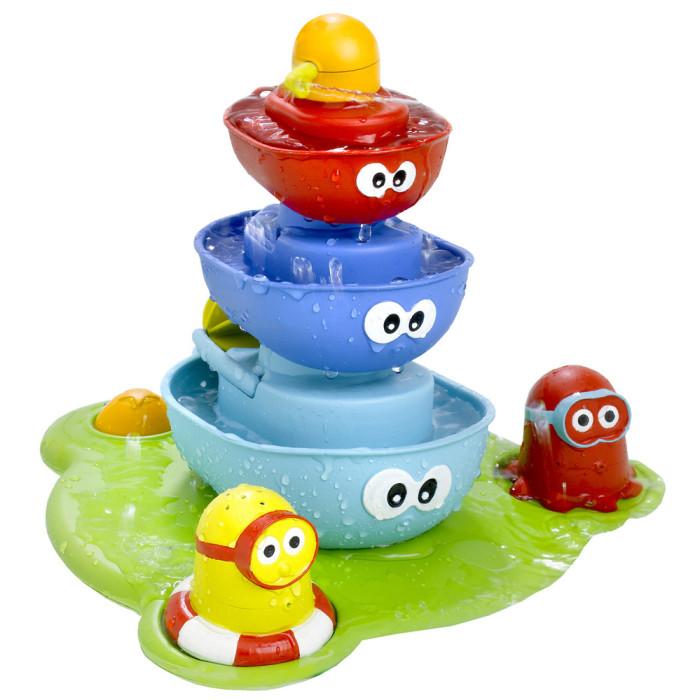 Yookidoo Игрушка для ванной Пирамидка ФонтанИгрушка для ванной Пирамидка ФонтанИгрушка для ванной Пирамидка Фонтан состоит из 5 предметов: плавучая база с креплением, 3 лодочки с глазками, 2 фигурки. Плавучая база с креплением на присосках и насосом легко крепится на дне ванной. Насос качает воду через центральную часть, создавая волшебный фонтан. На базе размещаются лодочки, две фигурки, кнопка с глазками для включения подачи воды. Меняя фигурки и лодочки наверху, создаем разные эффекты волшебного фонтана. Игрушка учит различать формы, развивает свето- и цветовосприятие, мелкую моторику, слуховые навыки, внимание, память, логическое мышление и творческое воображение.  Особенности: Работает от трех батареек типа АА (в комплект не входят). С таким набором купание превратиться в увлекательную игру! Возраст: от 1 года Вес игрушки: 1,137 кг Размер упаковки: 40,5х27,5х11 см<br>