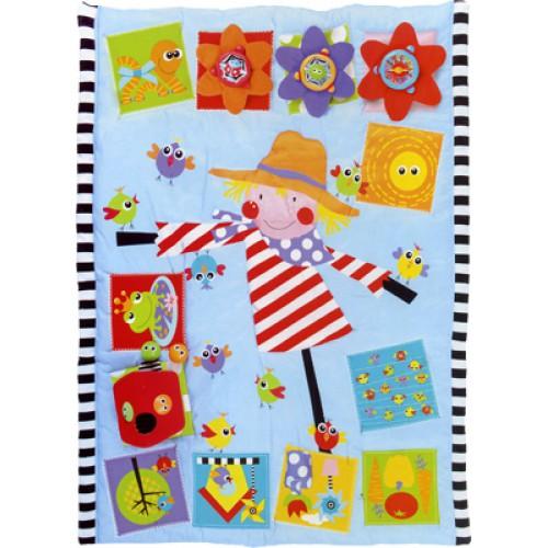 Развивающий коврик Yookidoo 4012540125Развивающий коврик Yookidoo разработан с целью побуждения ребенка к движению: поворачиваться, ползать, садиться. Внимание ребенка привлекают красочные рисунки и улыбающиеся лица.   Коврик выполнен из синтетического материала, с синтетическим наполнителем, основа из нетканого материала, края обшиты полосатой черно-белой тканью. Везде малыш увидит улыбающиеся личики - на коврике, на шариках и на игрушечках на изображении лягушки - пищалка есть пришитый кармашек, например, для шариков 3 игрушечки с зеркальными стенками: - цветочек, который крутится с треском; - лягушонок при нажатии пищит; - божья коровка - шарик - роллер с погремушкой внутри.   Нижняя часть с черно-белыми полосками игрушечки крепятся к коврики с помощью резиночек под игрушечки можно вставить мягкие тканевые цветочки разного цвета, с шуршащим наполнителем. Снизу черно-белые полоски домик закрепляется на коврике с помощью липучек и предлагает малышу увлекательную игру - бросать в отверстие на крыше шарик и смотреть как он выкатывается из дверки все игрушки снимаются коврик. Легко стирается - машинная стирка в холодной воде. Легко складывается для удобного хранения и переноски. Есть 2 ручки яркие насыщенные цвета, а особенно черно - белые фрагменты стимулируют зрительное восприятие новорожденного. Разнофактурный материал игрушек способствует развитию мелкой моторики пальчиков рук и тактильных ощущений у малыша.  Характеристики: В комплекте: - коврик, 3 пластиковые игрушки, 3 тканевых цветочка, 2 пластиковых шарика-погремушки с глазками, мягкий домик Материал: синтетическая ткань, пластмасса Размер игрушки: 140 х 110 см Размер упаковки: 80 х 20 х 35 см Вес: 1.7 кг<br>