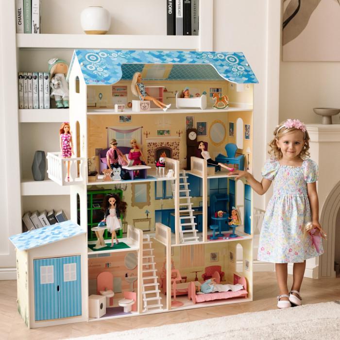 Paremo Домик для Барби ЛираДомик для Барби ЛираParemo Домик для Барби Лира PD316   - Фасады кукольного дома «Лира» окрашены в пастельный желтый цвет. С данным оттенком ярко контрастирует насыщенно голубая крыша. Такое нестандартное сочетание цветов, выбранное для данного домика, делает игрушку очень сочной, солнечной и активной. Боковые фасады украшают яркие наклейки в виде цветов в подвесных горшках, а крышу – нежные цветочные орнаменты. - Внутренний декор также достаточно насыщен благодаря яркой мебели и интерьерным наклейкам, дополняющим общий образ домика. - В доме 4 этажа, 7 просторных комнат, 2 балкона и гараж для кукольного транспорта; - На первом этаже гараж, в котором можно припарковать Барби-авто или любой другой игрушечный транспорт (велосипед, мопед и даже лодку). Помещение гаража можно использовать и не по прямому назначению, например, в качестве закрытой кладовой, ведь и у кукол бывает слишком много одежды и сумочек. Большие двери гаража легко открываются. При этом из гаража предусмотрен еще и сквозной проход для куклы в жилую часть дома, где располагаются ванная и спальня для кукол. На втором этаже – гардеробная и кухня. На третьем – гостиная и уголок красоты Барби. На четвертом, мансардном, этаже – уютная детская комната. - Между этажами куклы перемещаются по лестницам с приятным бархатистым покрытием (лестницы отделаны премиальным материалом – флоком белого цвета). Это неординарное решение дизайнеров придает домику ощущение уюта и респектабельности одновременно. - На уровне 2-го и 3-го этажей расположены большие балконы.  - Домик предназначен для девочек старше трехлетнего возраста - Игрушка 100% деревянная, ни одного пластикового элемента в каркасе и мебели - Большой игрушечный дом для кукол «Лира» частично открытый (задняя стенка глухая, все игровые зоны с лицевой стороны полностью доступны для игры) - Разработан специально для кукол высотой до 30 см (прекрасно подходит для Barbie, Winx, Moxie, Bratz, Sonya Rose и т.д.) - Размеры домика «Лира» в с