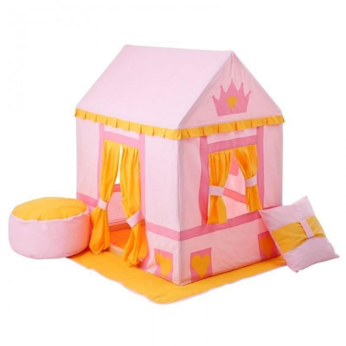 Paremo Текстильный домик с пуфиком Дворец Три КороныТекстильный домик с пуфиком Дворец Три КороныParemo Текстильный домик с пуфиком Дворец Три Короны PCR116   Текстильный домик-палатка с пуфиком Дворец Три Короны PAREMO разработан для девочек старше 3-летнего возраста, поскольку именно в этот период основной детской активностью становится сюжетно-ролевая игра, и возникает потребность в организации отдельного личного пространства. Самым оптимальным решением для совмещения 2-ух этих важных для становления личности ребенка потребностей является оснащение персонального игрового пространства. В помощь мамам и папам дизайнеры PAREMO разработали новую серию закрытых игровых текстильных домиков, ярких и функциональных.  - Игровая палатка для девочек Дворец Три Короны представляет собой домик с деревянным каркасом и хлопковым стилизованным чехлом, фиксирующемся завязками в основании домика. - Каркас деревянный, требует сборки перед началом эксплуатации. По размерам подходит под стандартные дверные проемы, облегчая перемещение игрушки между комнатами квартиры. - Текстильная часть домика выполнена в нежно-розовом цвете и декорирована вставками насыщенно розового цвета, солнечно-желтыми шторками, а также коронами и сердечками. - В домике большой дверной проем и 2 окошка. Дверь и окна декорируются яркими шторками, которые можно либо открыть, используя подвязки на проемах, либо полностью закрыть. - Все текстильные элементы легко снимаются, что очень удобно для стирки и ухода за игрушкой.  В комплект поставки игрового набора «Дворец Три Короны» входит: - Каркас дома; - Игровой чехол в виде домика; - Двусторонний игровой коврик в основание домика; - Подушка; - Пуфик; - Фурнитура для сборки каркаса; - Инструкция по сборке.  Отличительные особенности: Игрушку отличает милый девичий дизайн домика с украшениями в виде корон и сердечек, который, несомненно, порадует маленьких принцесс и их мам. Но главным достоинством игрового набора «Дворец Три Короны» PAREMO являются его комплектность