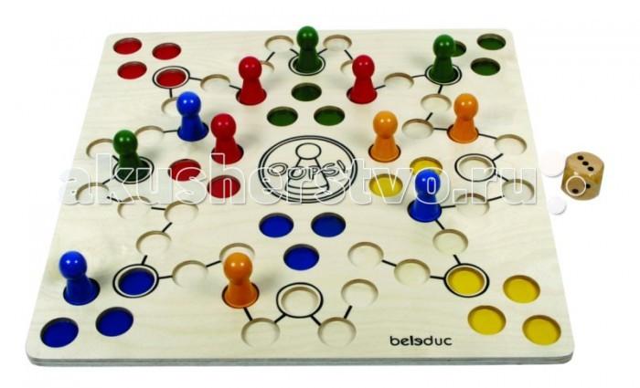 Beleduc Развивающая игра Оопс!Развивающая игра Оопс!Beleduc Развивающая игра Оопс!  Сверхудобный дизайн фишек и игровой панели доставят большое удовольствие не только детям, но и людям с ограниченными возможностями.   Игра развивает моторику и координацию движений.  Развивающая игра включает 14 деталей: 1 деревянная панель, 12 фишек, 1 игральный кубик с точками.  Размеры: 50 х 50 х 1.2 см<br>
