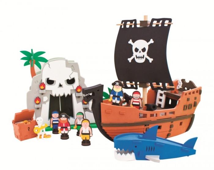 Конструктор Bebox Приключения пиратов 124 деталиПриключения пиратов 124 деталиИгровой набор Приключения пиратов - это отличный выбор ребенку на день рождения. Все дети любят приключения, поэтому с таким набором им не придется скучать.  Мягкий конструктор Bebox сделан из вспененного полимера, он не токсичен, не вызывает аллергии, прошел европейскую и российскую сертификации. Материал легкий и прочный, что выделяет его среди прочих конструкторов! После сборки конструктор хорошо и прочно держит форму, что позволяет свободно использовать его в игре. Ребенок может собирать и разбирать конструктор множество раз, а это развивает сосредоточенность, внимательность, двигательную память, мелкую моторику рук и воображение.  Этот набор идеально подходит для игры в ванной! Корабль не промокает, быстро обсыхает и держится на воде.  В набор входят:  6 игровых персонажей пиратский корабль остров сокровищ акула<br>