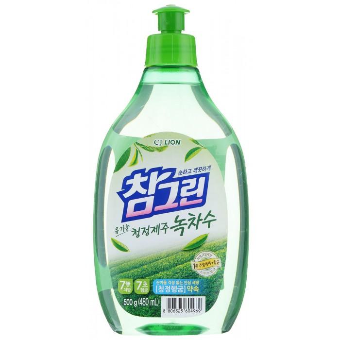 Бытовая химия CJ Lion Средство для мытья посуды Chamgreen С ароматом зеленого чая флакон 480 мл cj lion средство для мытья посуды chamgreen с древесным углем флакон 480 мл