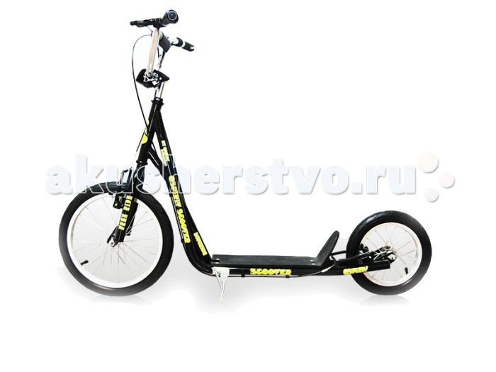 Двухколесный самокат Moove&amp;Fun Big Wheels 16/12Big Wheels 16/12Яркий и легкий самокат Big Wheels 16/12 выполнен из нержавеющей стали. Самокат с пневматическими (надувными) колесами обеспечивает комфортное передвижение по любой поверхности. У самоката большой велосипедный руль, алюминиевые обода, подножка, передние тормоза V-brake.  Особенности: Колёса: 12/16x1.75 дюймов Максимальная нагрузка: 100 кг Вес самоката: 7.6 кг Размер самоката: 90 x 52.5 x 15.5 см Материал: сталь Камеры из натуральной резины Алюминиевые обода Ручной тормоз V-brake Подножка Стойкая порошковая краска<br>