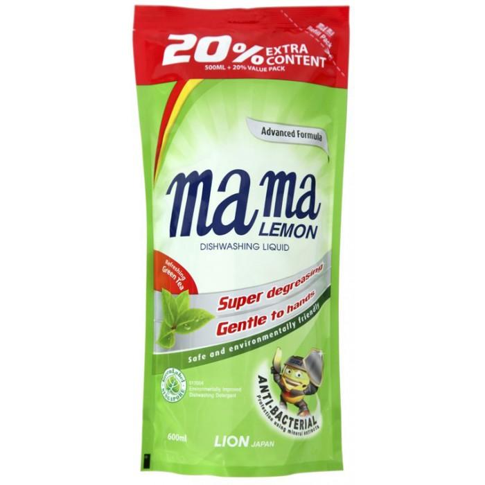 Бытовая химия Mama Lemon Концентрированное средство для мытья посуды Зеленый чай запасной блок 0.6 л жидкость для мытья посуды aos лимон 1 л