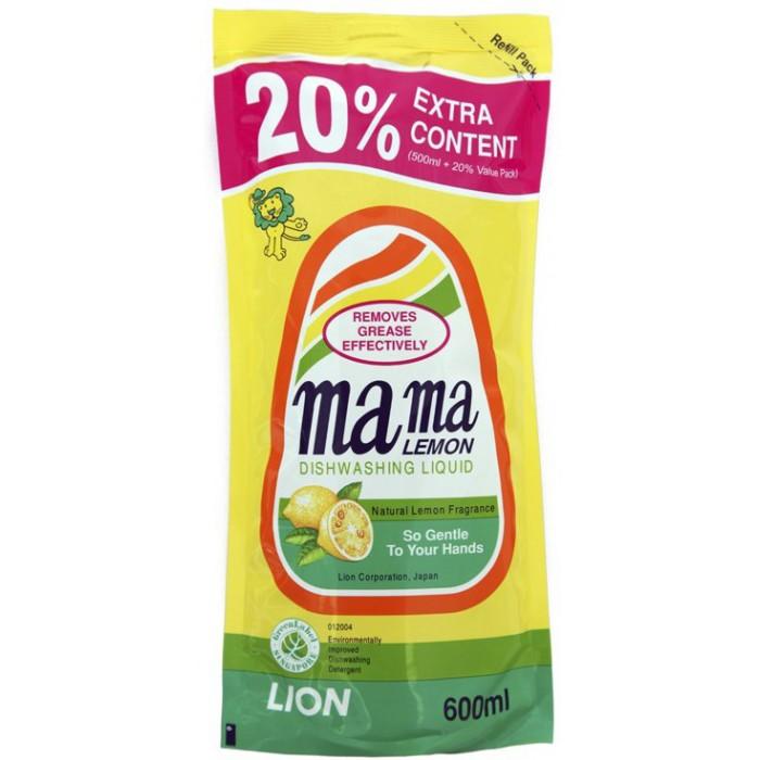 Бытовая химия Mama Lemon Концентрированное средство для мытья посуды Лимон запасной блок 0.6 л бытовая химия aos средство для мытья посуды лимон 1 л