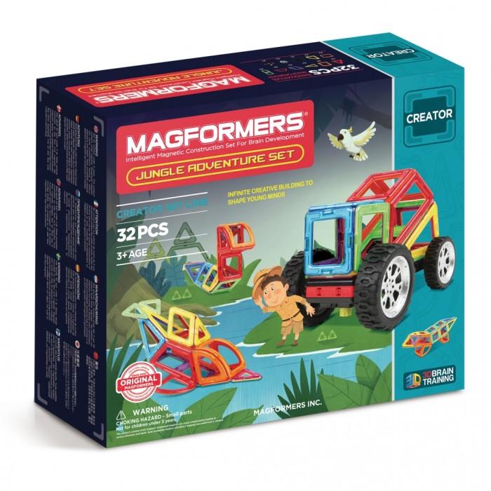 Конструктор Magformers Магнитный Adventure Jungle 32 setМагнитный Adventure Jungle 32 setМагнитный конструктор Magformers Adventure Jungle 32 set  Изюминкой этого набора являются новый аксессуар большие колеса, легко превращающий любые автомобили во внедорожники для увлекательных путешествий. Колеса крепятся на специальный распределительный модуль для подключения двигателя. Помимо автомобилей, Вы сможете создать модели животных, обитающих в джунглях. В густых тропических зарослях нам встретятся ягуары и пестрые попугаи, а в реках обитают экзотический пресноводный дельфин и анаконда — самая длинная змея на планете.  Набор содержит 32 элемента:  - треугольник: 4 шт. - равнобедренный треугольник: 4 шт. - квадрат: 8 шт. - прямоугольник: 2 шт. - ромб: 2 шт. - трапеция: 2 шт. - сектор: 4 шт. - арка: 2 шт. - клик-колеса: 1 шт. - новое большое колесо: 2 шт. - распределительный модуль тип I: 1 шт.<br>