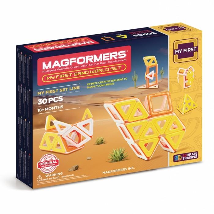 Конструктор Magformers Магнитный My First Sand World setМагнитный My First Sand World setМагнитный конструктор Magformers My First Sand World set посвящен пустыне.   В его состав входят квадраты и треугольники Магформерс в теплых песочных цветах — желтом, оранжевом, белом. Из них можно собрать множество различных обитателей пустыни, построть пирамиду и сфинкса.  В комплект также входит красочно иллюстрированная Книга Идей с подробными схемами сборки пустынных жителей - верблюда, ящерицу, скорпиона, кобру, а можно включить воображение и придумать собственного зверька. Набор станет отличным подарком для юного натуралиста!  Набор содержит 30 элементов: - треугольник: 16 шт. - квадрат: 14 шт.<br>