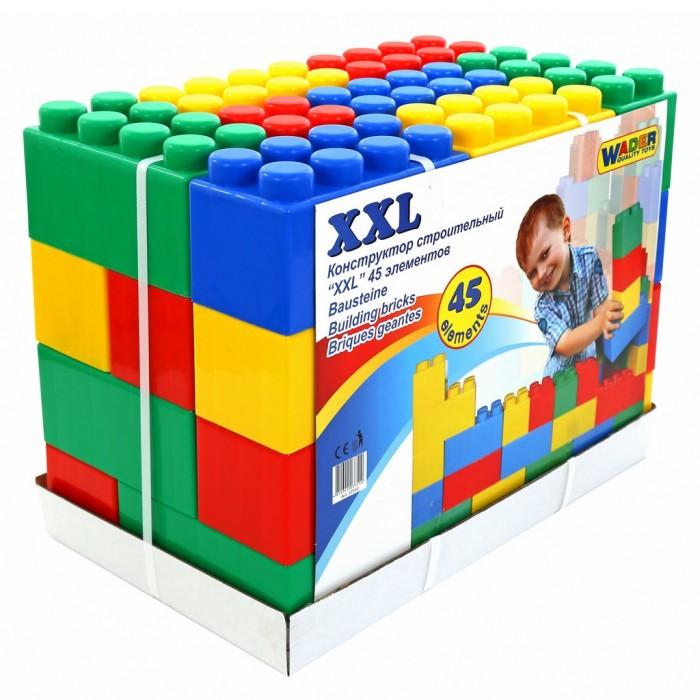 Конструктор Wader XXL (45 элементов)XXL (45 элементов)Конструктор Wader серии XXL специально создан для игр маленьких детей, крупные элементы безопасны и позволяют развивать моторику рук и физику тела ребенка.   Во время игры с конструктором из серии XXL у ребенка активно развивается пространственное и логическое мышление. Возводя постройки, маленький строитель получает понятие о симметрии/асимметрии, учится подбирать нужные блоки по размеру, цвету и тренирует свое воображение.   Это самый полезный конструктор для малышей, детали которого выполнены в масштабе настоящих строительных кирпичей. Такая реалистичность позволяет ребёнку полностью вжиться в роль строителя и созидать, фантазировать, пробовать. Возможно, это начало большого будущего, в котором Ваш ребенок станет архитектором или строителем.   Крупный размер и скругленные углы конструктора обеспечивают безопасность для малышей. Соединять элементы из такого набора намного проще, а потерять детальку невозможно.   Основные достоинства такой игрушки в том, что с её помощью малыш учится создавать первые объёмные фигуры, тем самым развивая пространственное мышление. Также знакомится с цветом. Всё это происходит в форме игры, которая без труда даётся ребёнку. Этот большой конструктор никогда не остается без внимания на мероприятиях, позволяя удивлять посетителей различными сооружениями большого размера, будь то детские домики, лабиринты или игровые зоны.   Игра с таким конструктором очень увлекательна, ведь дети не просто занимаются строительством, они могут использовать своё творение в качестве декораций для игры. Размер конструктора XXL это позволяет. С этим конструктором могут играть дети вместе со взрослыми. Массивные фигуры, которые можно создавать поистине поражают, заставляя работать воображение.   Конструктор Wader XXL станет любимой игрушкой всей семьи! Качество пластика марки Wader видно невооруженным глазом. Это самые высочайшие европейские стандарты качества. Изготовлено из высококачественного и экологиче