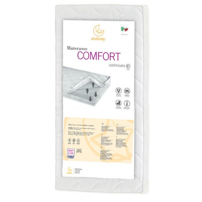 Матрас Italbaby Comfort 140х70Comfort 140х70Набивка матрасов Italbaby серии COMFORT состоит из волокон полиэстера, что позволяет всем изделиям быть очень легкими, равномерно наполненными, не деформирующимися.  Температура тела ребенка поддерживается, благодаря специальной теплообработке волокон полиэстера. Для наматрасника используются 100% хлопковые ткани, гарантирующие необходимую вентиляцию для тела и максимальный комфорт и безопасность. Размеры: 70х140х11 см<br>