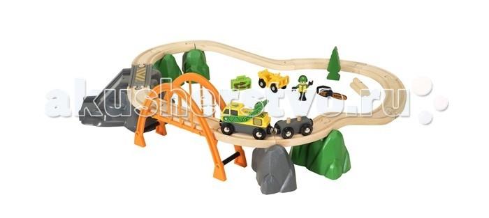 Brio Игровой набор ж/д На лесопилке (24 элемента)Игровой набор ж/д На лесопилке (24 элемента)Brio Игровой набор ж/д На лесопилке (24 элемента). Главный элемент в серии Лесопилка деревянной железной дороге БРИО - На лесопилке.   В состав набора входит грузовой поезд, состоящий из погрузчика и вагона, элементов рельсового пути, внедорожника и фигурки лесоруба с бензопилой. Железнодорожное полотно раскладывается на двух уровнях. Груз леса можно разгружать с грузового вагона на специальном разгрузочном пункте.   Погрузчик может вращаться на 360 градусов и с помощью своей стрелы с магнитным захватом загружать грузы в вагоны деревянной железной дороги БРИО.   Стартовый набор содержит 24 элемента.<br>